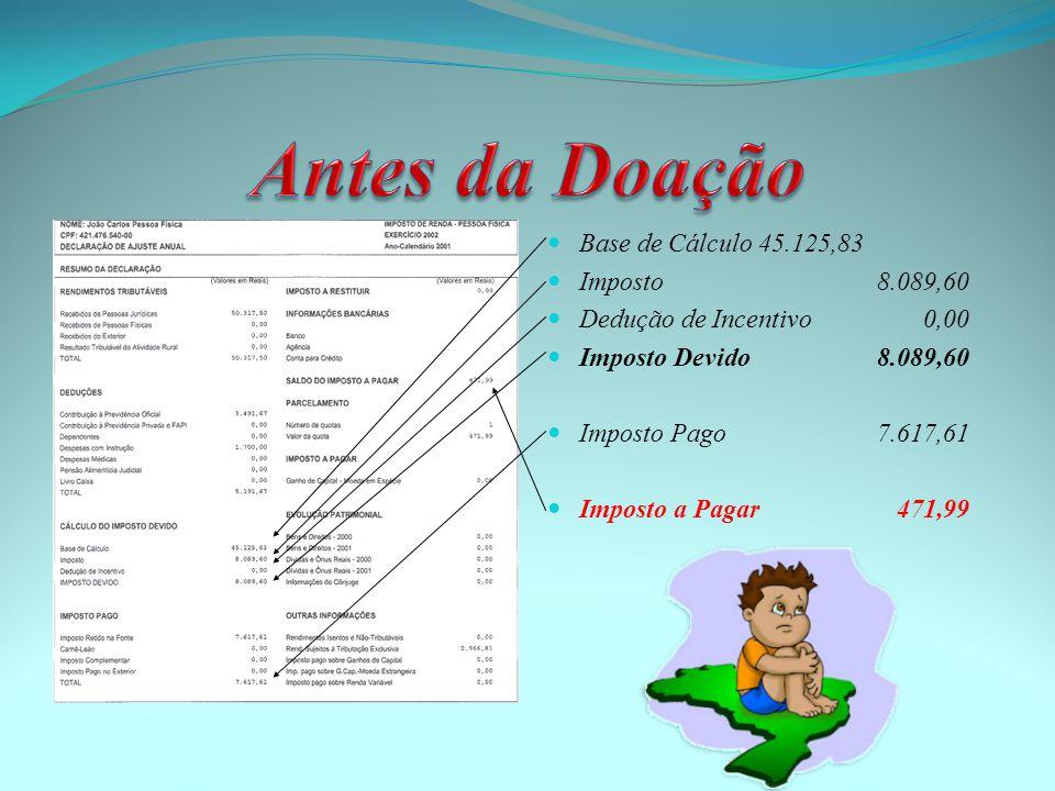 Base de Cálculo45.125,83  Imposto 8.089,60  Dedução de Incentivo 0,00  Imposto Devido 8.089,60  Imposto Pago 7.617,61  Imposto a Pagar 471,99