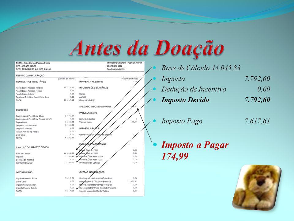  Base de Cálculo44.045,83  Imposto 7.792,60  Dedução de Incentivo 0,00  Imposto Devido 7.792,60  Imposto Pago 7.617,61  Imposto a Pagar 174,99
