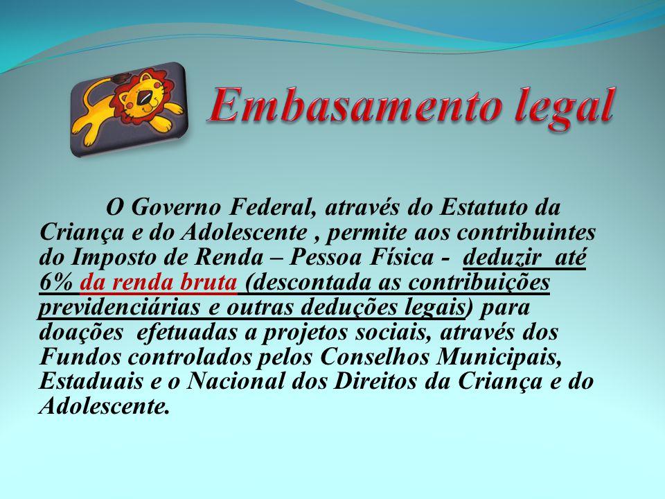 • Lei n.º 8.069, de 13/07/90 artigo 260 -Cria Estatuto da Criança e do Adolescente-ECA; • Lei n.º 8.242, de 12/10/91, art.