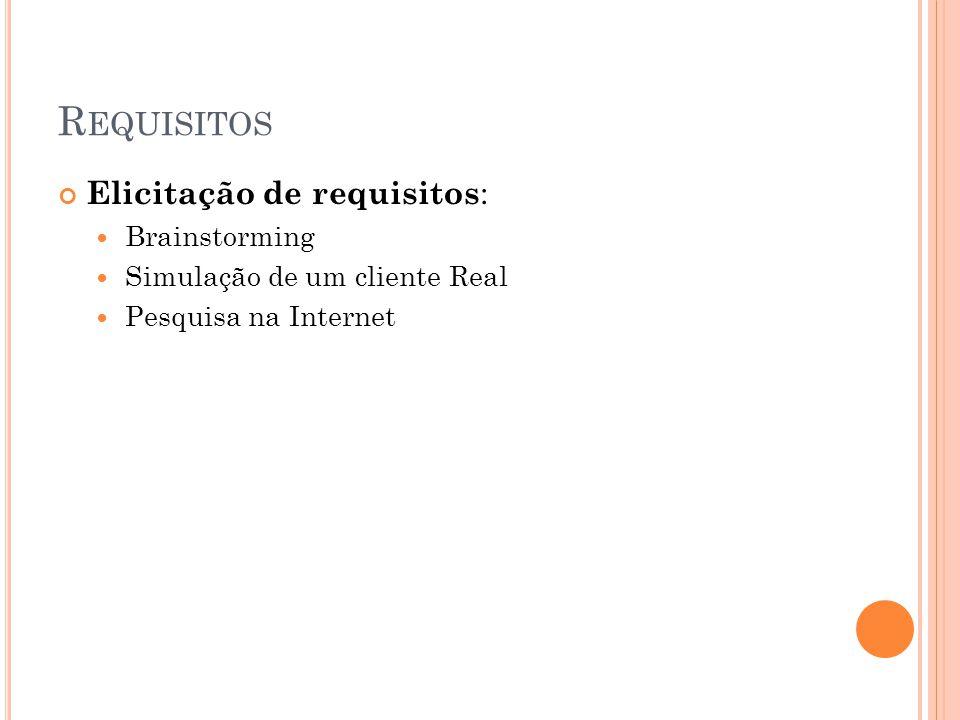 R EQUISITOS Elicitação de requisitos :  Brainstorming  Simulação de um cliente Real  Pesquisa na Internet