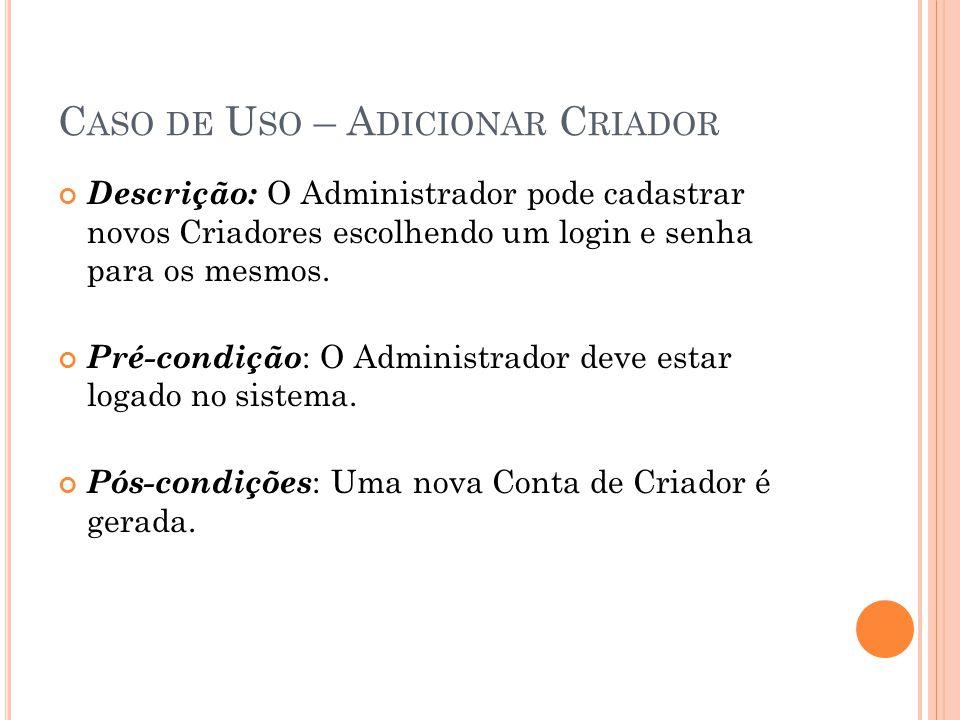 C ASO DE U SO – A DICIONAR C RIADOR Descrição: O Administrador pode cadastrar novos Criadores escolhendo um login e senha para os mesmos. Pré-condição