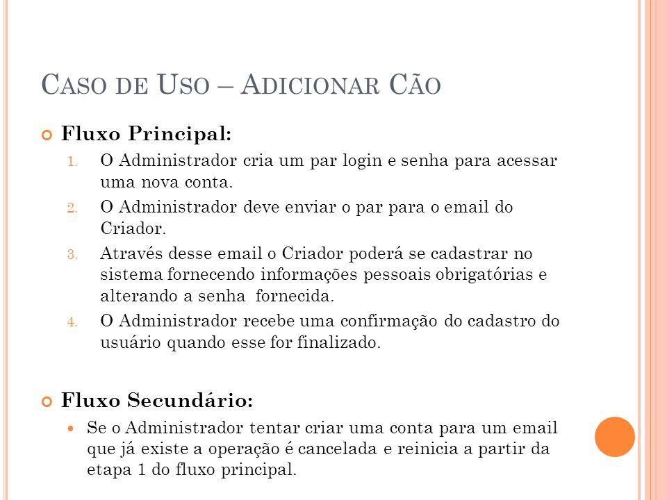 C ASO DE U SO – A DICIONAR C ÃO Fluxo Principal: 1. O Administrador cria um par login e senha para acessar uma nova conta. 2. O Administrador deve env