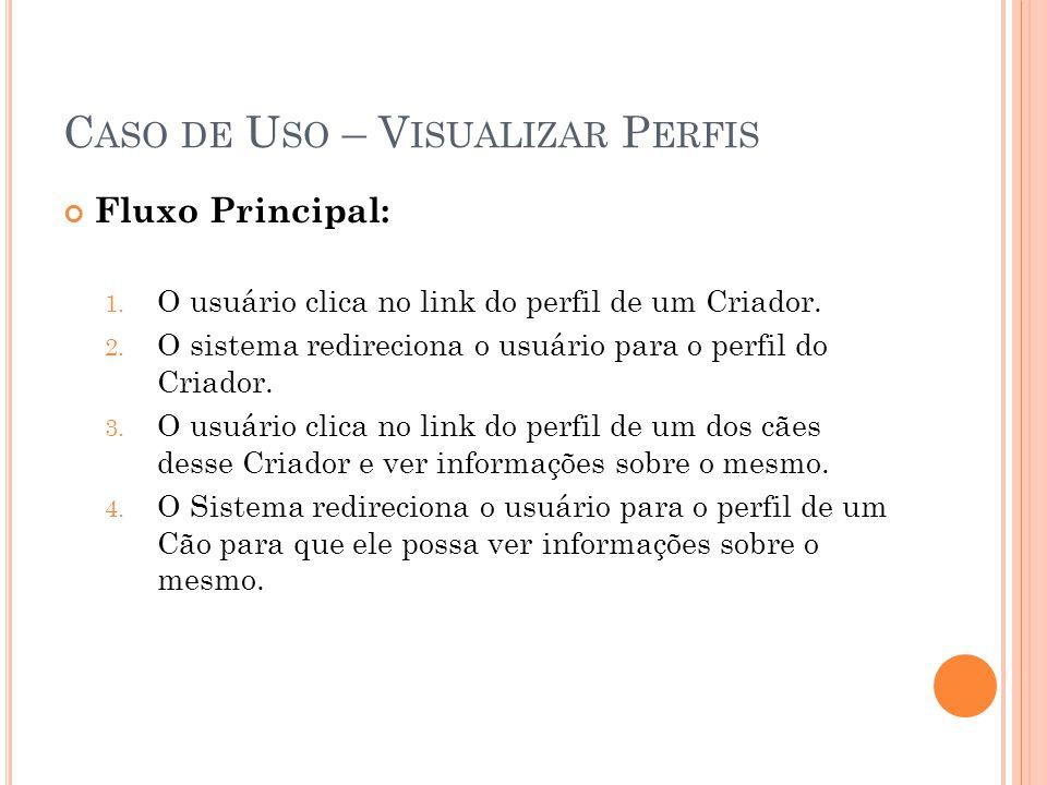 C ASO DE U SO – V ISUALIZAR P ERFIS Fluxo Principal: 1. O usuário clica no link do perfil de um Criador. 2. O sistema redireciona o usuário para o per