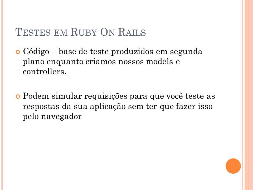 T ESTES EM R UBY O N R AILS Código – base de teste produzidos em segunda plano enquanto criamos nossos models e controllers. Podem simular requisições