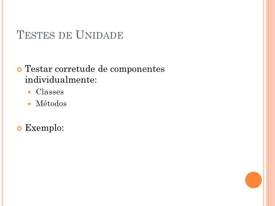 T ESTES DE U NIDADE Testar corretude de componentes individualmente:  Classes  Métodos Exemplo: