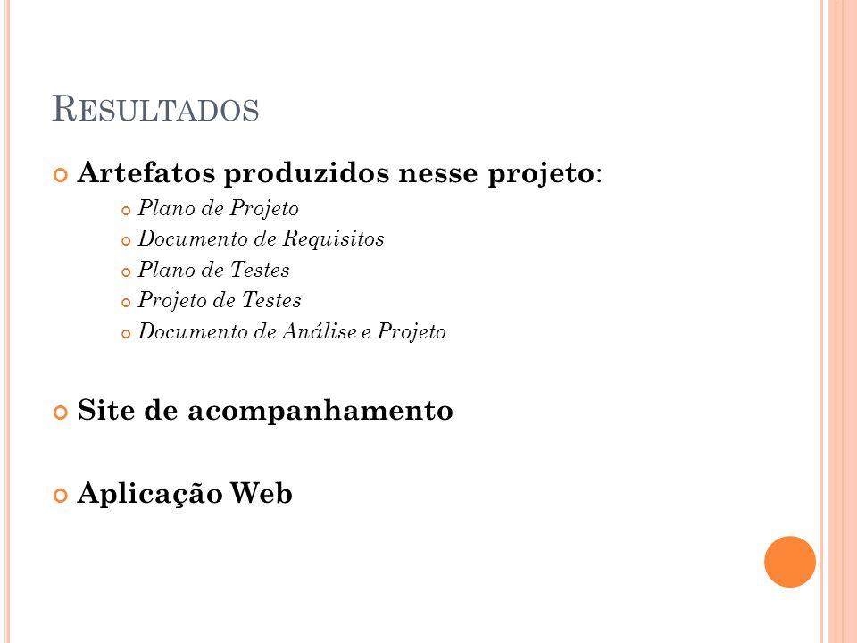 R ESULTADOS Artefatos produzidos nesse projeto : Plano de Projeto Documento de Requisitos Plano de Testes Projeto de Testes Documento de Análise e Pro