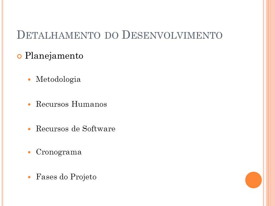 D ETALHAMENTO DO D ESENVOLVIMENTO Planejamento  Metodologia  Recursos Humanos  Recursos de Software  Cronograma  Fases do Projeto