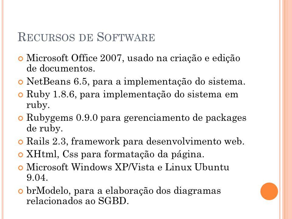 R ECURSOS DE S OFTWARE Microsoft Office 2007, usado na criação e edição de documentos. NetBeans 6.5, para a implementação do sistema. Ruby 1.8.6, para