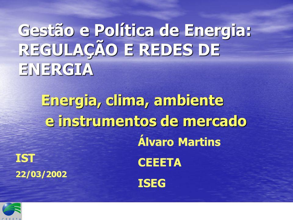 Gestão e Política de Energia: REGULAÇÃO E REDES DE ENERGIA Energia, clima, ambiente e instrumentos de mercado e instrumentos de mercado Álvaro Martins CEEETA ISEG IST 22/03/2002