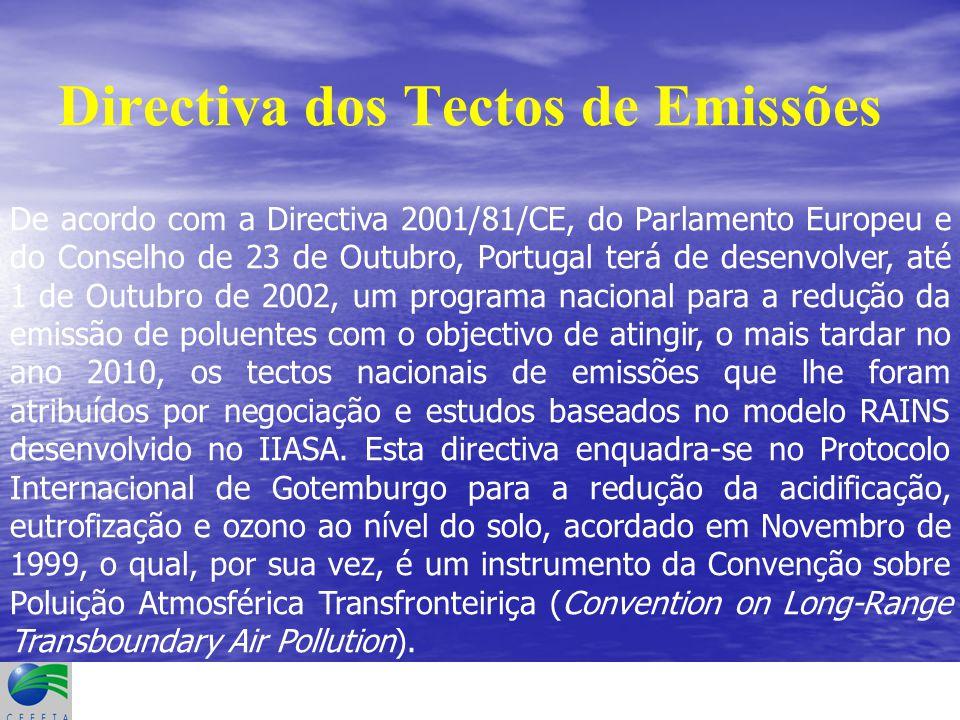 Directiva dos Tectos de Emissões De acordo com a Directiva 2001/81/CE, do Parlamento Europeu e do Conselho de 23 de Outubro, Portugal terá de desenvolver, até 1 de Outubro de 2002, um programa nacional para a redução da emissão de poluentes com o objectivo de atingir, o mais tardar no ano 2010, os tectos nacionais de emissões que lhe foram atribuídos por negociação e estudos baseados no modelo RAINS desenvolvido no IIASA.