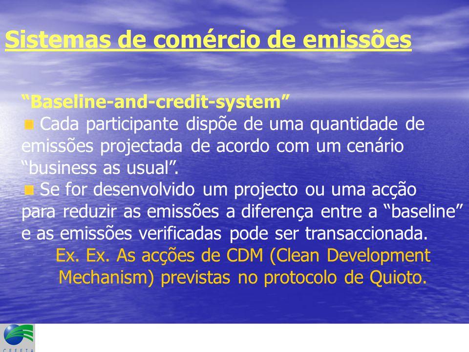 Sistemas de comércio de emissões Baseline-and-credit-system Cada participante dispõe de uma quantidade de emissões projectada de acordo com um cenário business as usual .