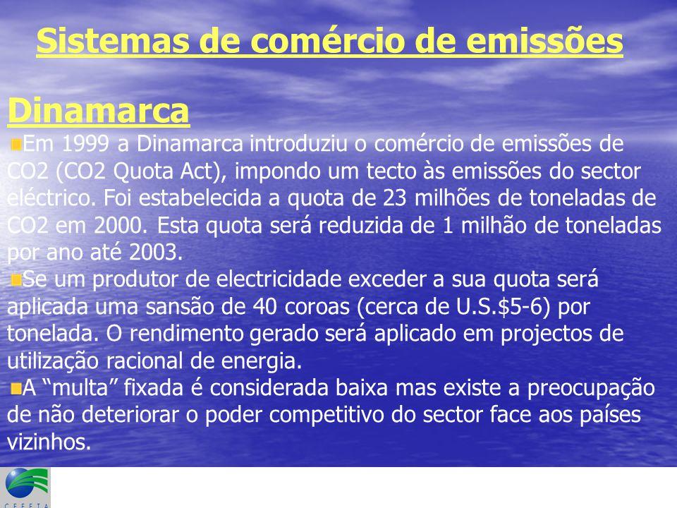Sistemas de comércio de emissões Dinamarca Em 1999 a Dinamarca introduziu o comércio de emissões de CO2 (CO2 Quota Act), impondo um tecto às emissões do sector eléctrico.