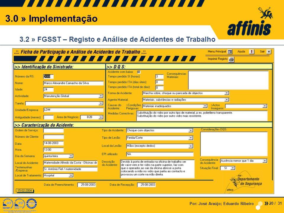 Por: José Araújo; Eduardo Ribeiro 3.0 » Implementação 3.2 » FGSST – Registo e Análise de Acidentes de Trabalho 20 / 31