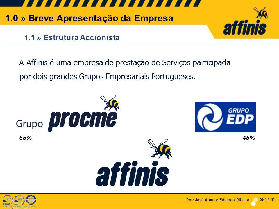 1.1 » Estrutura Accionista Por: José Araújo; Eduardo Ribeiro A Affinis é uma empresa de prestação de Serviços participada por dois grandes Grupos Empresariais Portugueses.