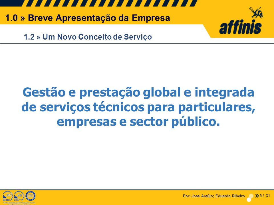 1.2 » Um Novo Conceito de Serviço Por: José Araújo; Eduardo Ribeiro 1.0 » Breve Apresentação da Empresa Gestão e prestação global e integrada de serviços técnicos para particulares, empresas e sector público.