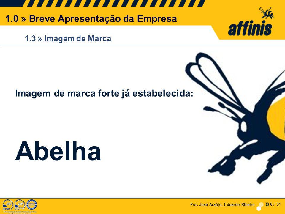 Por: José Araújo; Eduardo Ribeiro 1.3 » Imagem de Marca 1.0 » Breve Apresentação da Empresa Imagem de marca forte já estabelecida: Abelha 6 / 31