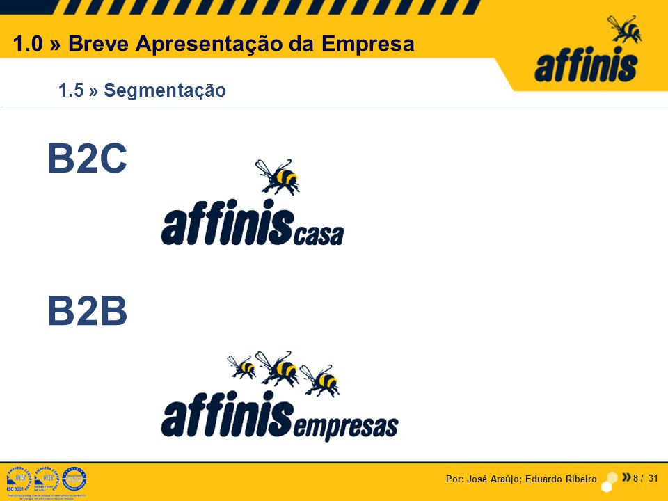 Por: José Araújo; Eduardo Ribeiro 1.5 » Segmentação 1.0 » Breve Apresentação da Empresa B2C B2B 8 / 31