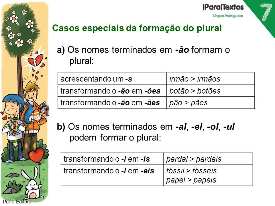 c) Os nomes terminados em -il tónico passam a terminar em -is: Exs.: peitoril > peitoris  ardil > ardis d) Há nomes cujo plural é idêntico ao singular, ou seja, são uniformes quanto ao número.