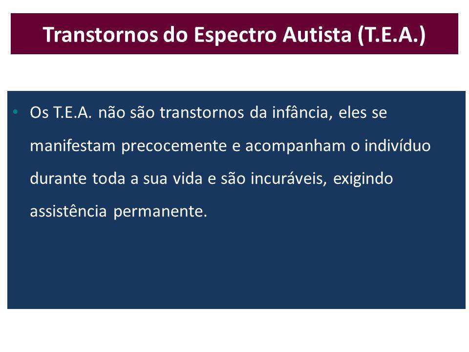 • 1 indivíduo em 110 é portador de Transtorno do Espectro Autista (T.E.A) • Afeta homens e mulheres na proporção de 4  para 1  • 70% dos portadores de T.E.A.