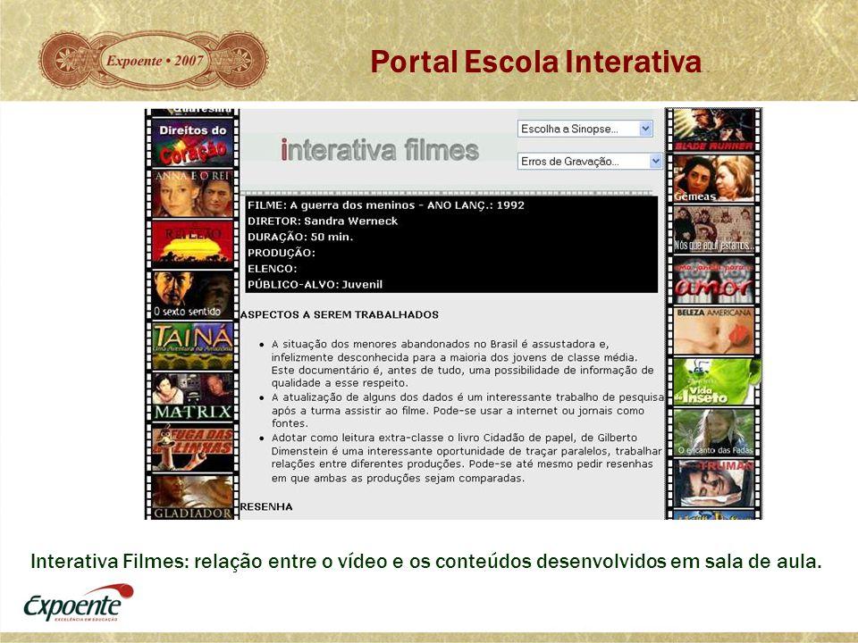 Interativa Filmes: relação entre o vídeo e os conteúdos desenvolvidos em sala de aula. Portal Escola Interativa