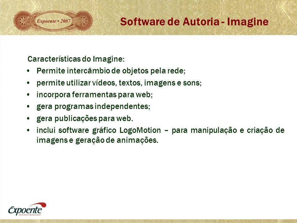 Características do Imagine: •Permite intercâmbio de objetos pela rede; •permite utilizar vídeos, textos, imagens e sons; •incorpora ferramentas para w