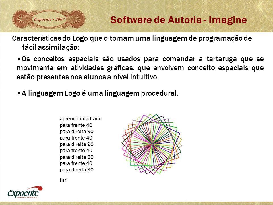 Características do Logo que o tornam uma linguagem de programação de fácil assimilação: •Os conceitos espaciais são usados para comandar a tartaruga q