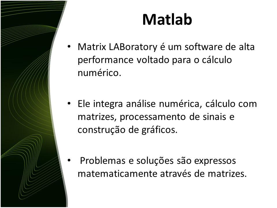 Roteiro  Um pouco sobre Matlab Operações e operadores Funções Controle de fluxo Arquivos.m Gráficos  Projeto da disciplina