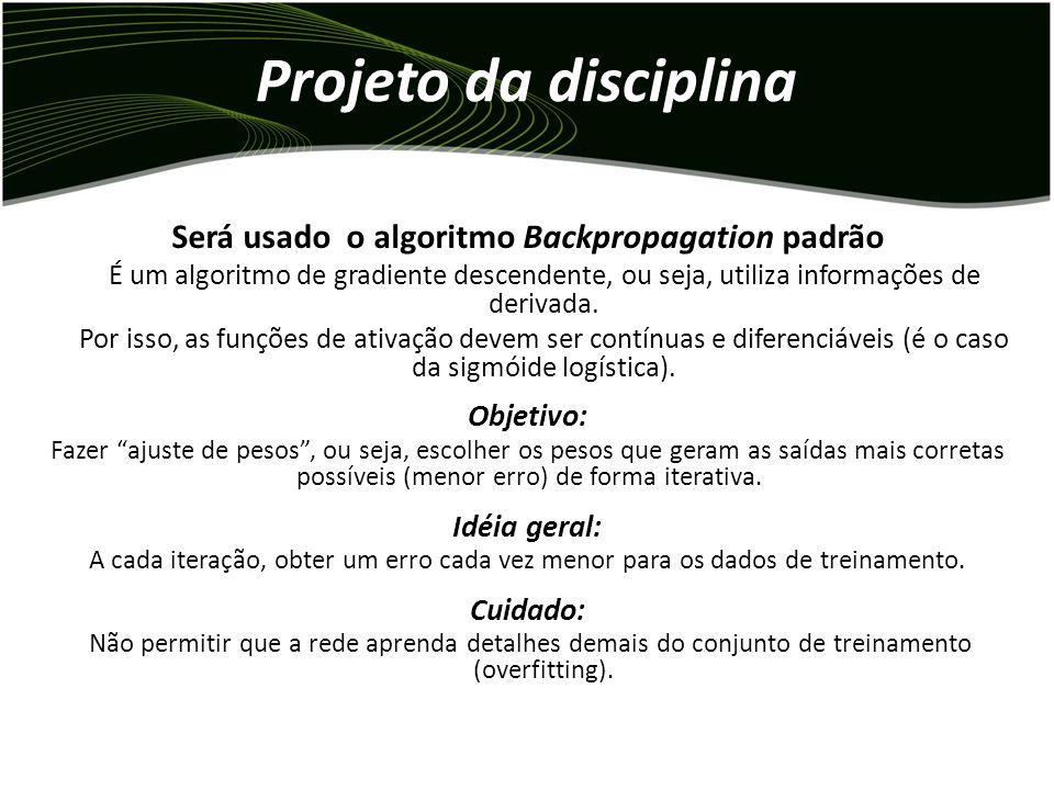 Projeto da disciplina Medidas de Erro Para problemas de classificação, também será calculado o erro de classificação (neste projeto, só para o conjunt