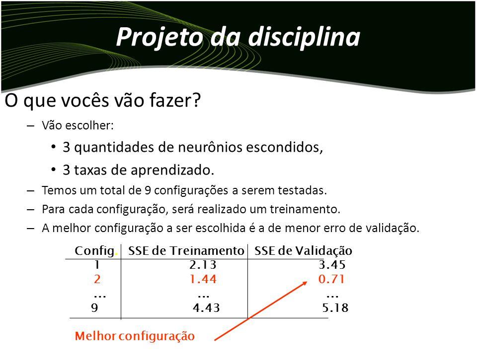 Projeto da disciplina Neste trabalho, serão escolhidos 3 valores para a taxa de aprendizado do algoritmo backpropagation. A quantidade máxima de itera