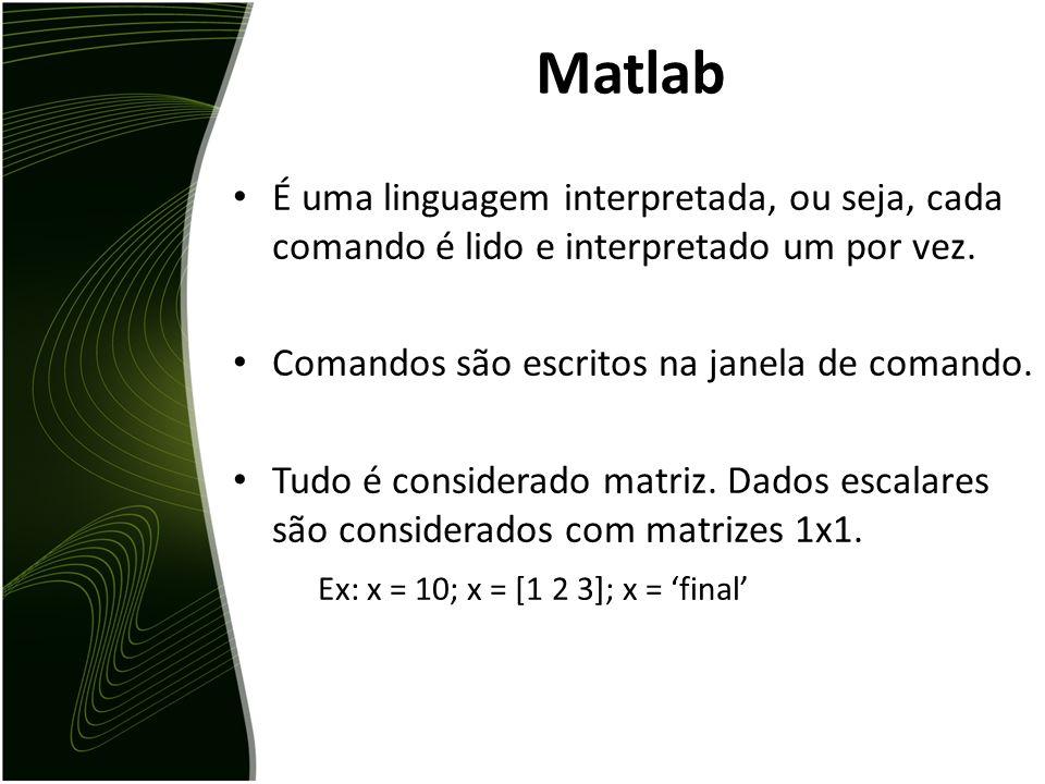 Matlab Matrix LABoratory é um software de alta performance voltado para o cálculo numérico. Ele integra análise numérica, cálculo com matrizes, proces