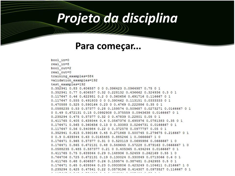 Projeto da disciplina – Para a melhor configuração escolhida, devem ser feitos 10 treinamentos com diferentes inicializações de pesos. – O objetivo é