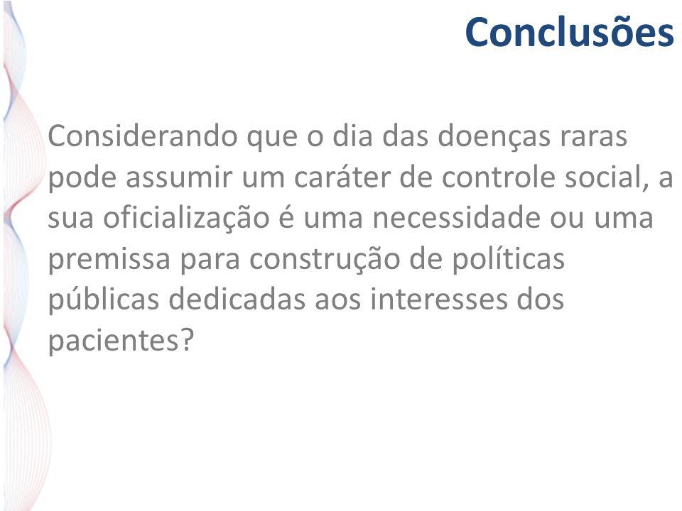 Conclusões Considerando que o dia das doenças raras pode assumir um caráter de controle social, a sua oficialização é uma necessidade ou uma premissa para construção de políticas públicas dedicadas aos interesses dos pacientes