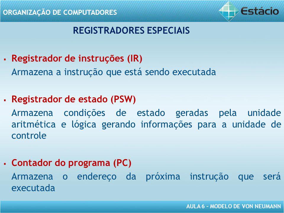 AULA 6 – MODELO DE VON NEUMANN ORGANIZAÇÃO DE COMPUTADORES   Registrador de instruções (IR) Armazena a instrução que está sendo executada   Regist