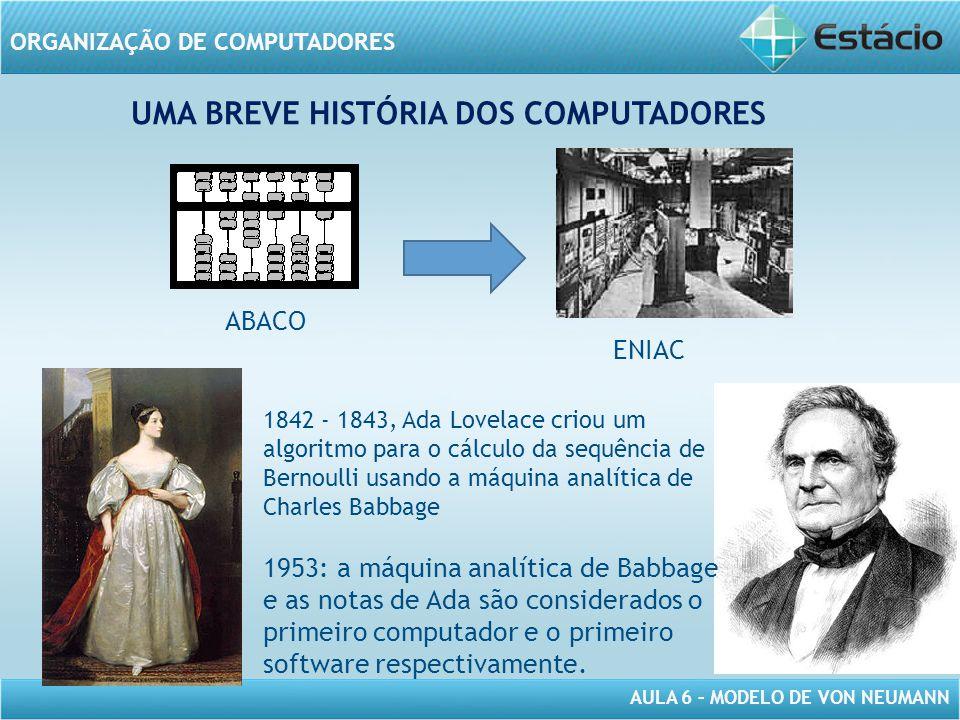 AULA 6 – MODELO DE VON NEUMANN ORGANIZAÇÃO DE COMPUTADORES UMA BREVE HISTÓRIA DOS COMPUTADORES ABACO ENIAC 1842 - 1843, Ada Lovelace criou um algoritm