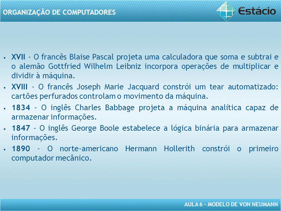 AULA 6 – MODELO DE VON NEUMANN ORGANIZAÇÃO DE COMPUTADORES   XVII - O francês Blaise Pascal projeta uma calculadora que soma e subtrai e o alemão Go