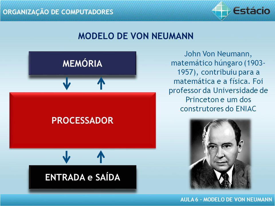 AULA 6 – MODELO DE VON NEUMANN ORGANIZAÇÃO DE COMPUTADORES MEMÓRIA PROCESSADOR ENTRADA e SAÍDA MODELO DE VON NEUMANN John Von Neumann, matemático húng