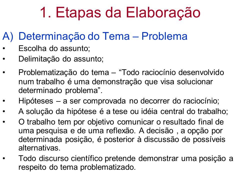 """1. Etapas da Elaboração A)Determinação do Tema – Problema Escolha do assunto; Delimitação do assunto; Problematização do tema – """"Todo raciocínio desen"""