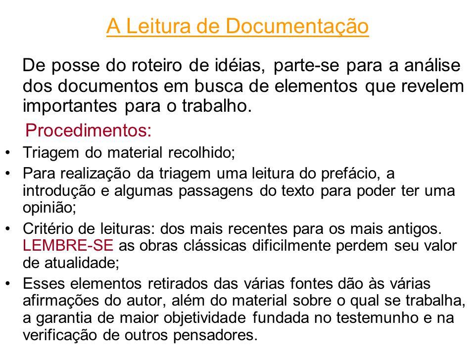 A Leitura de Documentação De posse do roteiro de idéias, parte-se para a análise dos documentos em busca de elementos que revelem importantes para o trabalho.