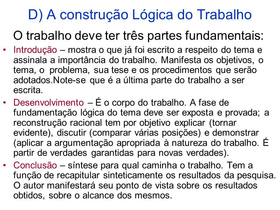 D) A construção Lógica do Trabalho O trabalho deve ter três partes fundamentais: Introdução – mostra o que já foi escrito a respeito do tema e assinala a importância do trabalho.