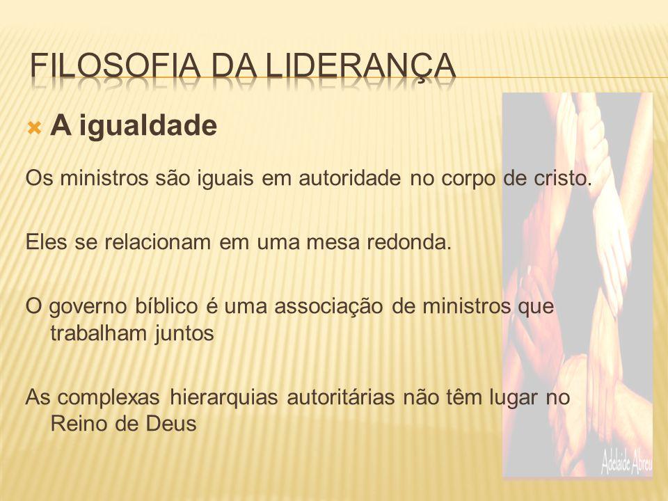  A igualdade Os ministros são iguais em autoridade no corpo de cristo. Eles se relacionam em uma mesa redonda. O governo bíblico é uma associação de