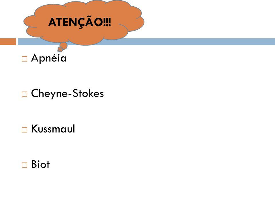  Apnéia  Cheyne-Stokes  Kussmaul  Biot ATENÇÃO!!!
