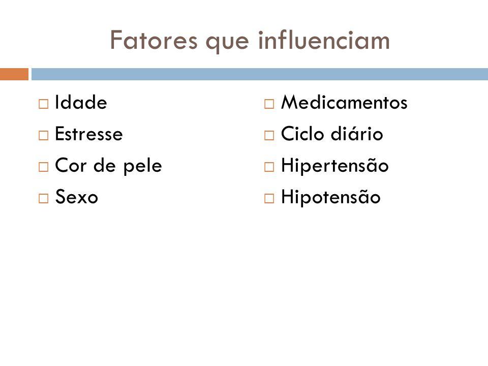 Fatores que influenciam  Idade  Estresse  Cor de pele  Sexo  Medicamentos  Ciclo diário  Hipertensão  Hipotensão