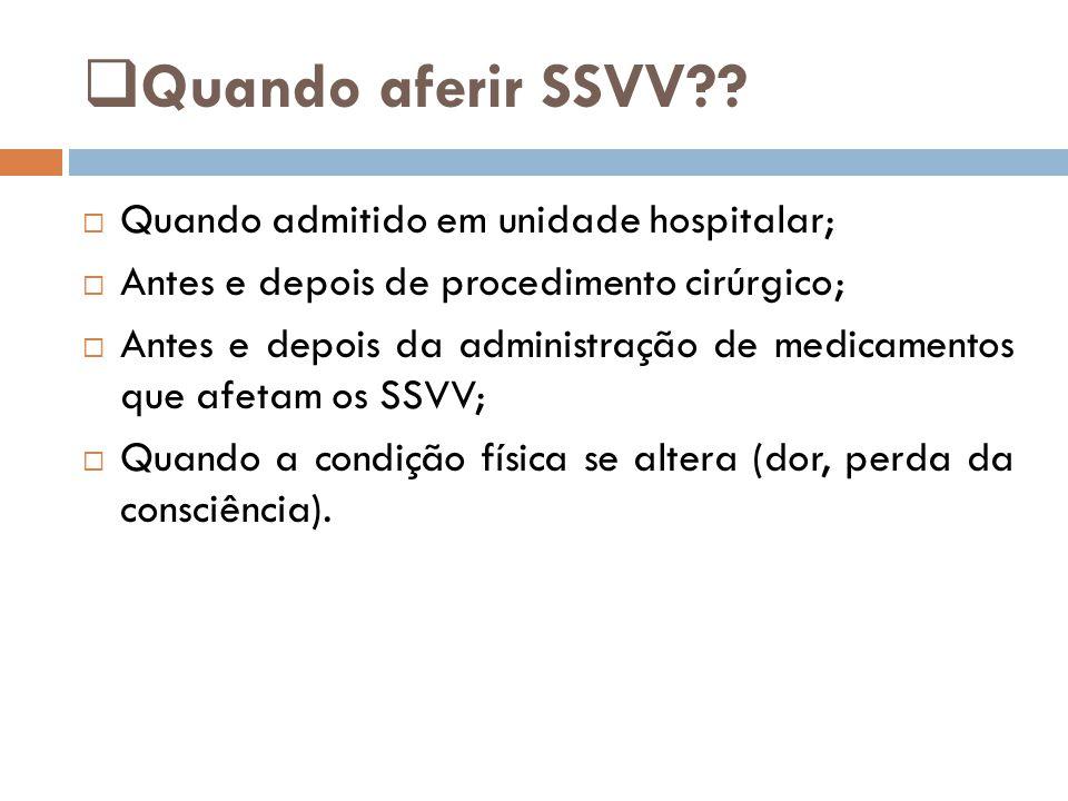  Quando aferir SSVV??  Quando admitido em unidade hospitalar;  Antes e depois de procedimento cirúrgico;  Antes e depois da administração de medic