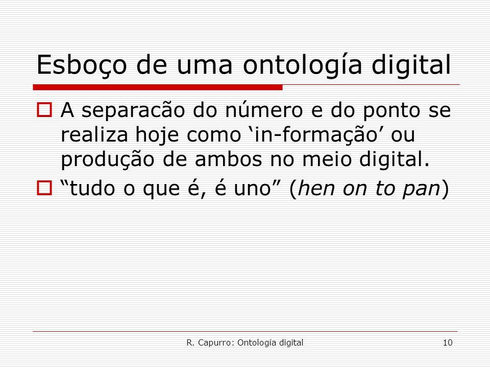 R. Capurro: Ontología digital10 Esboço de uma ontología digital  A separacão do número e do ponto se realiza hoje como 'in-formação' ou produção de a