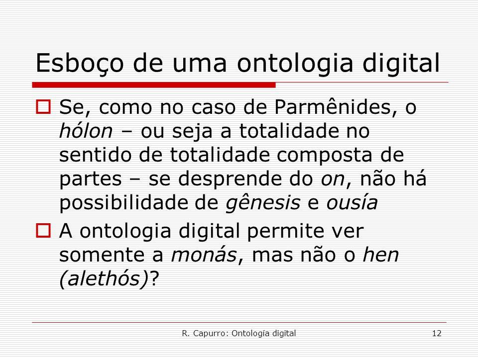 R. Capurro: Ontología digital12 Esboço de uma ontologia digital  Se, como no caso de Parmênides, o hólon – ou seja a totalidade no sentido de totalid
