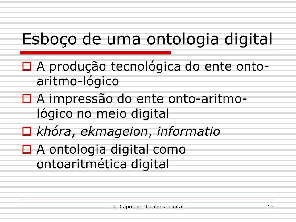 R. Capurro: Ontología digital15 Esboço de uma ontologia digital  A produção tecnológica do ente onto- aritmo-lógico  A impressão do ente onto-aritmo