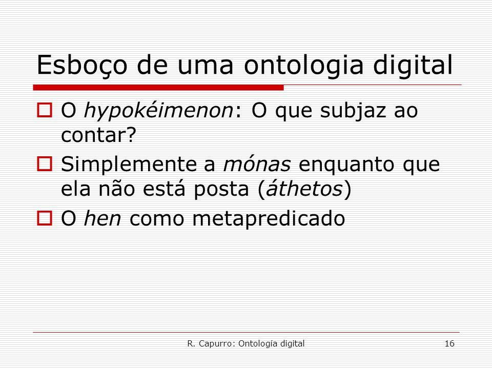 R. Capurro: Ontología digital16 Esboço de uma ontologia digital  O hypokéimenon: O que subjaz ao contar?  Simplemente a mónas enquanto que ela não e