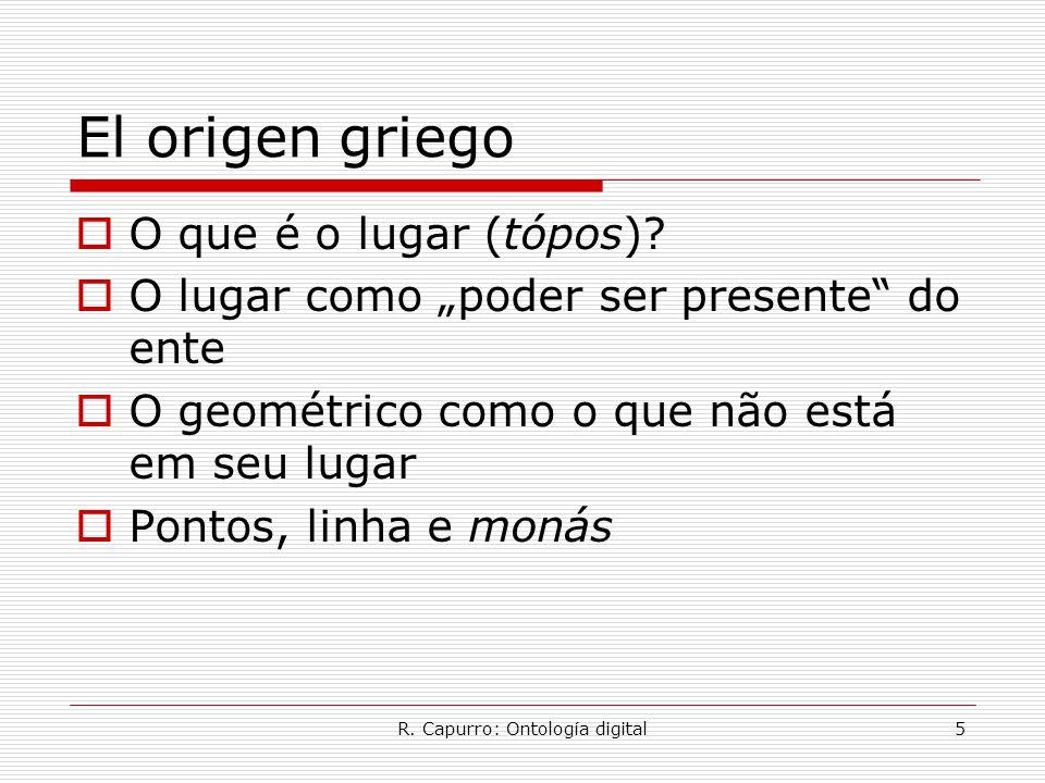 """R. Capurro: Ontología digital5 El origen griego  O que é o lugar (tópos)?  O lugar como """"poder ser presente"""" do ente  O geométrico como o que não e"""