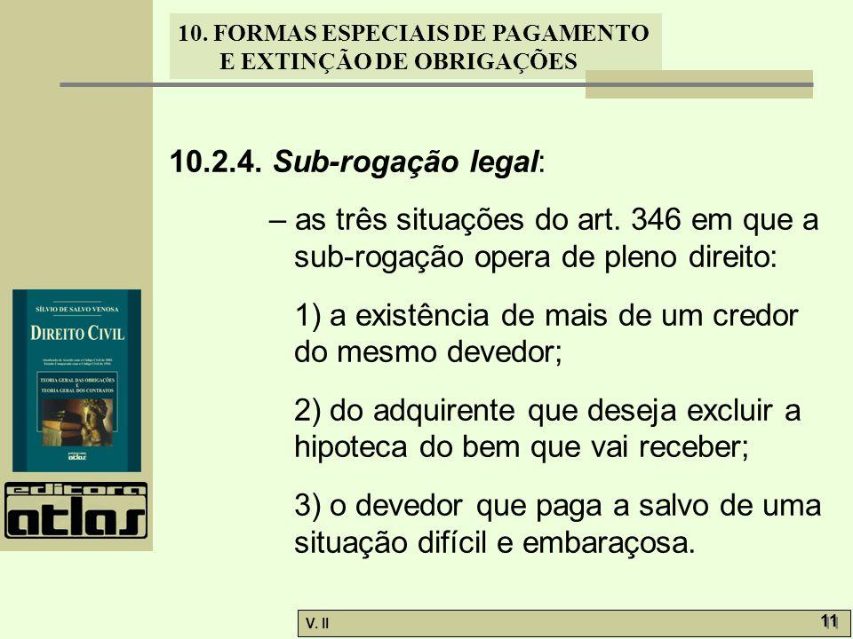 V. II 11 10. FORMAS ESPECIAIS DE PAGAMENTO E EXTINÇÃO DE OBRIGAÇÕES 10.2.4. Sub-rogação legal: – as três situações do art. 346 em que a sub-rogação op