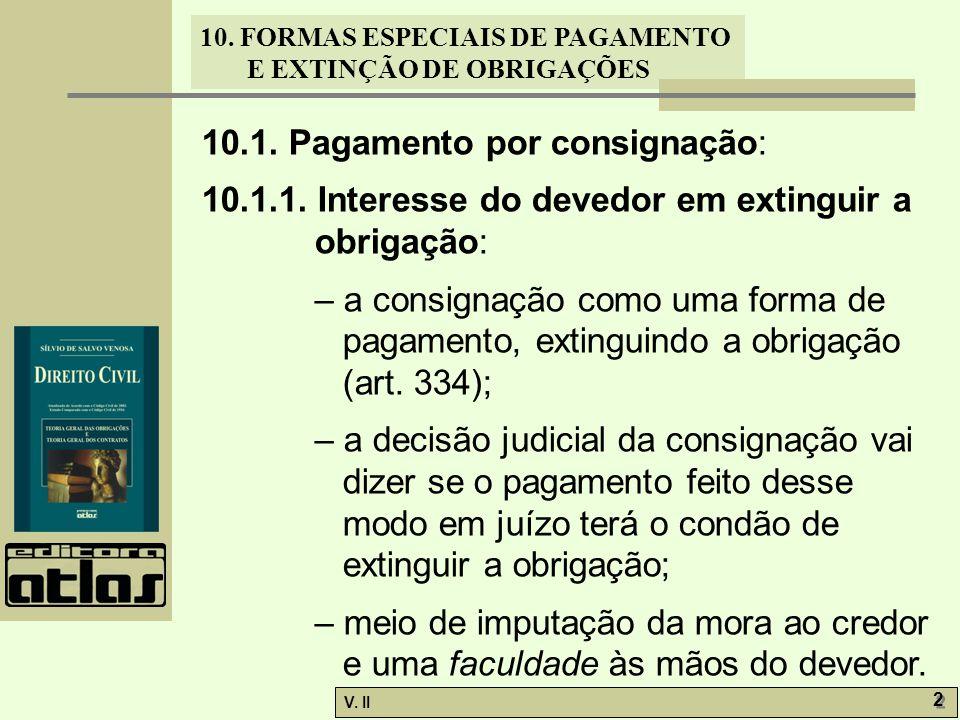 V. II 2 2 10. FORMAS ESPECIAIS DE PAGAMENTO E EXTINÇÃO DE OBRIGAÇÕES 10.1. Pagamento por consignação: 10.1.1. Interesse do devedor em extinguir a obri
